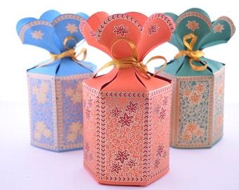 Favor Gift Box with Flower Top, Wedding Favor Box, Party Gift Box, Indian Wedding Favor, Ramadan party box, Mithai box, Eid gift box