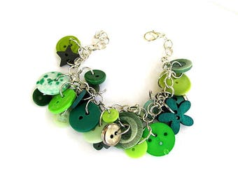 Mixed Green Button Bracelet FREE US Shipping