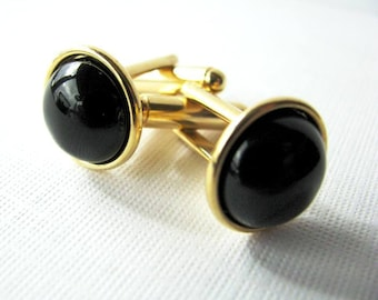 Black Onyx Cufflinks for the Groom or Special Occasion, Gold Plated