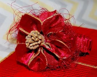 Deer Skin and Red Satin Flower Stretch Bracelet - Shabby Chic Goes Tribal!