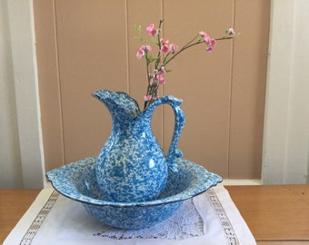 Royal Haeger Spatterware Pitcher and Basin. C. 1938-1944