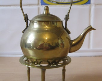 Brass teapot with stand, small vintage tea / coffee kettle / pot