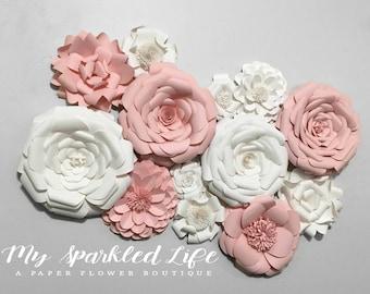Paper Flowers Wall Decor - Wedding Decor - Home Decor - Paper Flower Backdrop - Pink - White - Paper Flowers - Photo Shoot - Backdrop