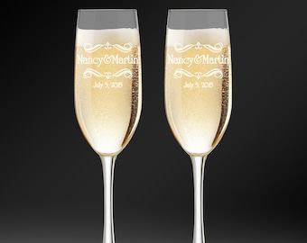 Personalized Toasting Glasses - Flutes For Bride & Groom - Wedding Champagne Glasses - Engraved Champagne Flutes - Toasting Flutes