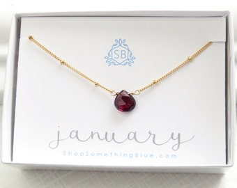 January Birthday Gift • Genuine Garnet Necklace • Dotted Satellite Chain • Garnet Birthstone • Red Faceted Teardrop • Deep Red Gemstone