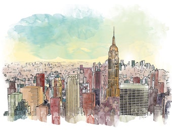 Manhattan Ink and Watercolor Drawing