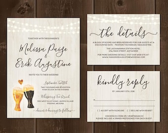 Brewery Wedding Invitation Template - Rustic Beer Pint Glass Toast on Wood Printable Set - Instant Download PDF Suite - String Lights