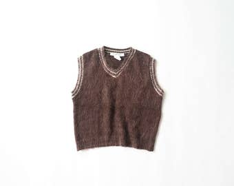 90s Crop Top Sweater Angora Knit 1990s Midriff Pullover Cropped Shirt Y2K Sleeveless Jumper Vest Soft Grunge Furry Fuzzy Aesthetic Small