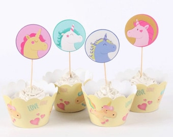 12 sets little unicorn cupcake toppers and wrappers