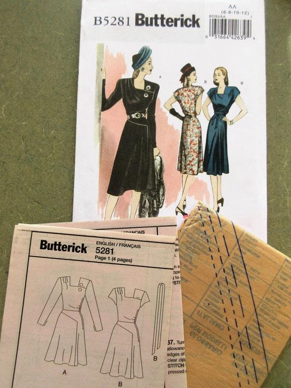 Butterick 5281 Schnittmuster 1940er Jahre Schnittmuster