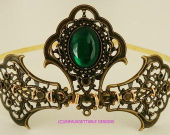 Tudor Medieval Emerald Green Elaborate Tiara larp ren sca Tudor Wedding