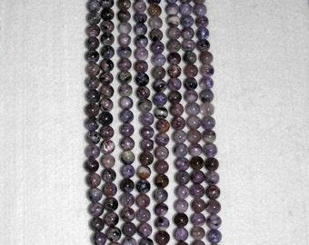 Charoite, Charoite Bead, Natural Stone, Purple Bead, Semi Precious Stone, Russian Bead, Half Strand, 8mm, AdrianasBeads