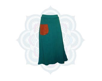 Organic Skirts - Custom Made Organic cotton and Hemp Terry Cloth  Skirt handmade and dyed to Order MidCalf length with contrasting pocket