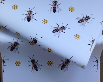 Honey bee, bee, wrapping paper, gift wrap, for bee lovers, bee keepers, honeycomb, read description