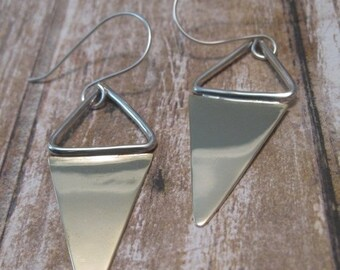 SALE Mixed Metal Triangle Metal Earrings - Sterling Silver and Brass Earrings - Gift for Her - Dangle Earrings