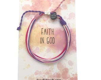 Faith in God for Girls, Girls Achievements, LDS gift for girls, Pink threaded bracelet tiny with charm, friendship bracelet, thread bracelet