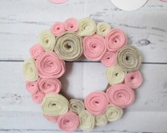 """Tiny Felt Flower Mini Wreath 6"""" Pink and Neutrals Nursery Decor"""