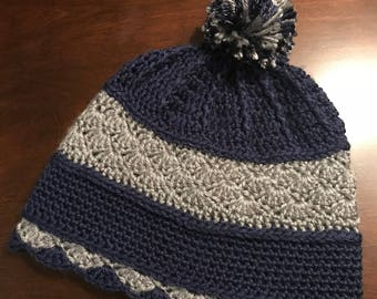 Navy and Grey Hand-Crocheted Hat- Adult