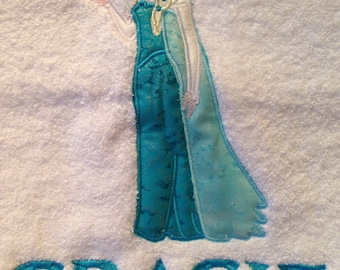 Personalised princess elsa disney frozen bath towel any name embroidered boy girl gift