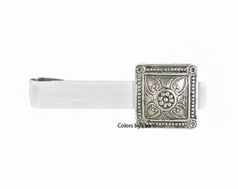 Square Medallion Head Tie Bar Clip Inlaid in White Opaque Hand Painted Glossy Enamel Tie Bar Assorted Colors and Personalization Available