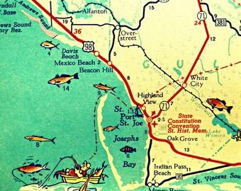 Mexico Beach Map Art Print, Florida Map Art, Port St Joe Map Art Vintage Florida Map Artwork, Florida Wall Art, Cape San Blas Aqua Artwork