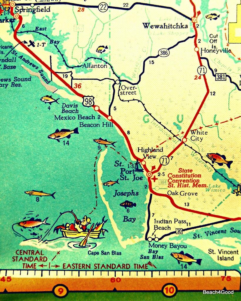 Mexico Beach Map Art Print Florida Map Art Port St Joe Map