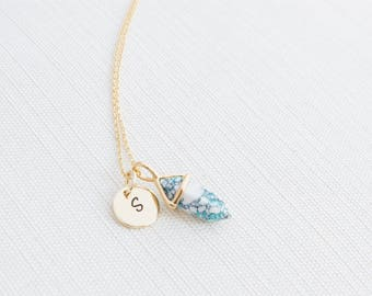 Gold Initial Necklace & turquoise Marble Charm, Marble Necklace, Personalised Jewellery, Gold Plated Jewellery, Bridesmaid Necklace
