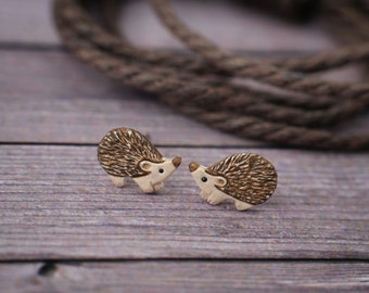 Hedgehog Stud Earrings Hedghogs Little Earrings Miniature Miniatures Animal Totem