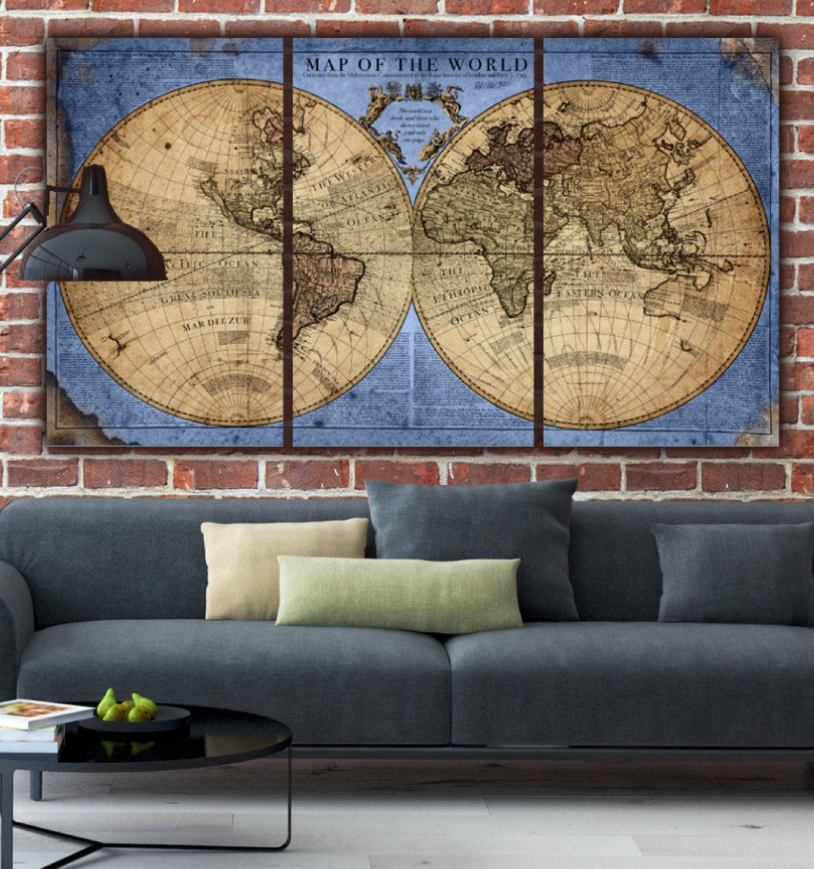 Globe world map canvas bluetan large wall art canvas wall zoom gumiabroncs Gallery
