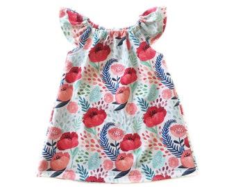Spring Toddler Dress, Floral Dress, Birthday Dress, Flower Girl Dress, Baby Girl Dress, Pink Girls Dress, Toddler Dress, Floral Romper