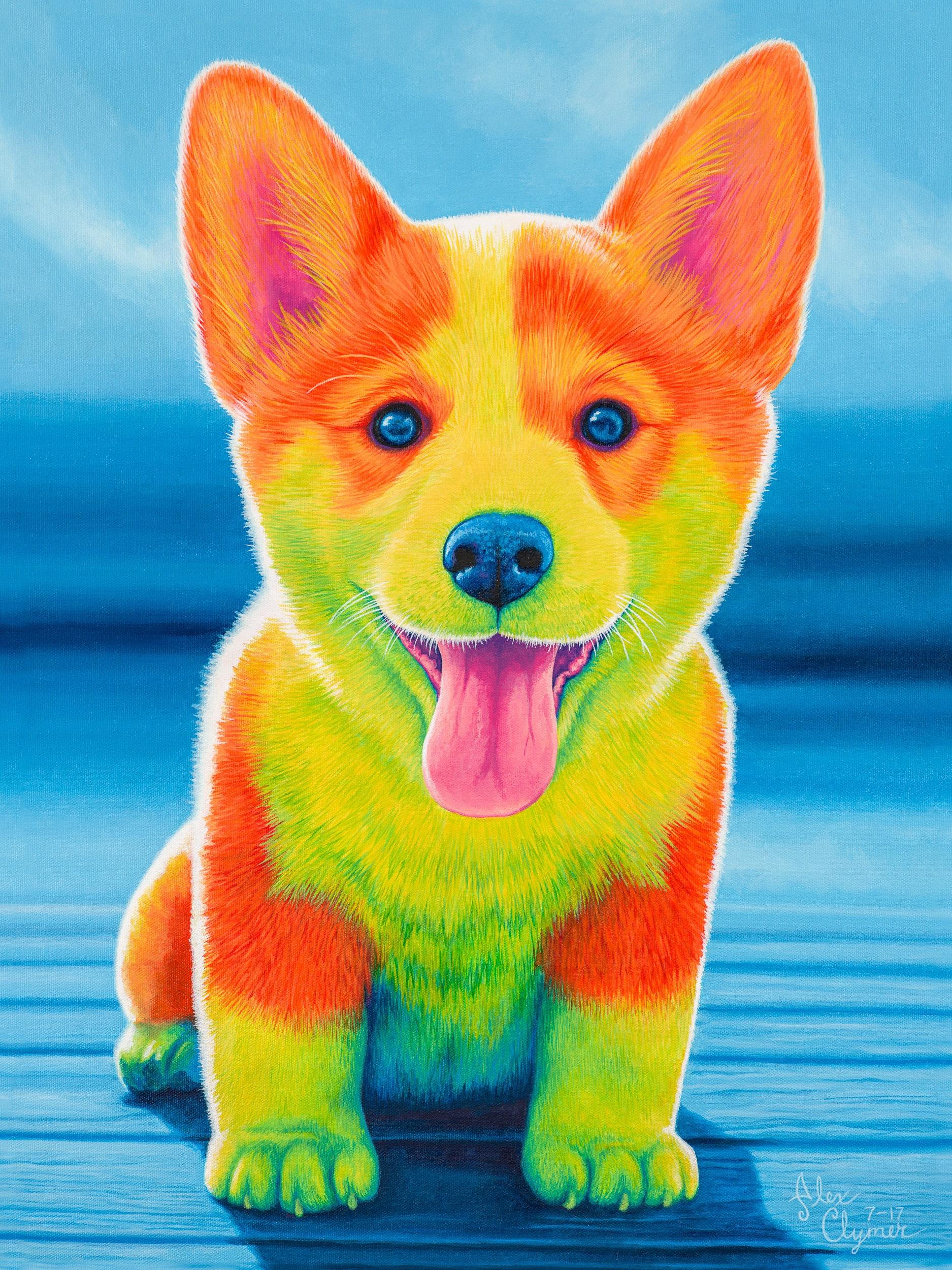 Colorful Corgi Painting Print Corgi Puppy Rainbow Dog