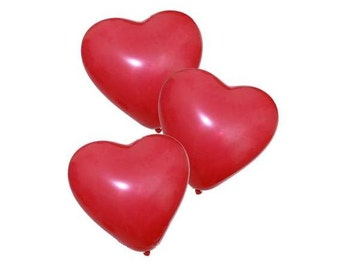 "6/12 Red Heart Shaped Balloons / 11"" Latex / Valentines Day Balloons / Love Romance Decor / Party Decorations / Photo Props / Gifts for Her"