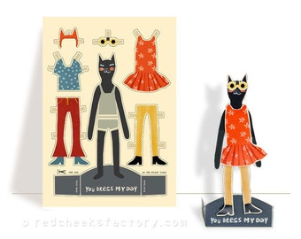 DIY cut out and dress paper cat Mathilde - paper doll - cat card - paper puppet - dress doll - retro cat