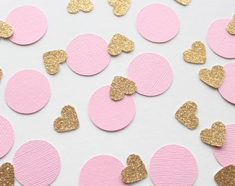 """Pink & Gold 1"""" Circle and Heart Confetti/ 100 Count/Party Decoration/ Birthday/ Wedding/ Bridal Shower/ Baby Shower/ Table Confetti"""