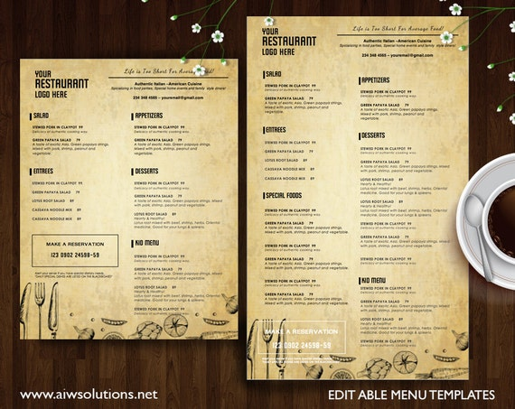 Vintage Menu Templates Printable Restaurant Menu Template