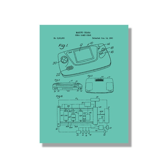Sega game gear gaming patent poster blueprint style screen sega game gear gaming patent poster blueprint style screen print hand made wall art in multiple colors malvernweather Image collections