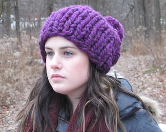 Chunky Knit Hat, Slouch Hat, Thick Knit Beanie, Oversize Winter Hat, Chunky Pom Pom Hat, Gift for Her, Purple Hat