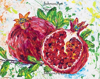 Fruit wall art, Pomegranate fruit, new year, red fruit wall art, print by Johno Prascak of Pittsburgh