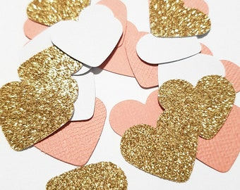 Gold Confetti Hearts, Engagement Party Decorations, Peach Gold Confetti, Bridal Shower Decorations, Peach Confetti, White Gold Decorations
