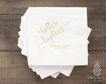Better Together | Customizable Cocktail Wedding Napkins | social graces and Co
