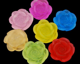 Flower Cabochons Bulk Resin Flowers Rose Flat Backs 18mm Flowers Embellishments Wholesale Flatbacks 50 pieces