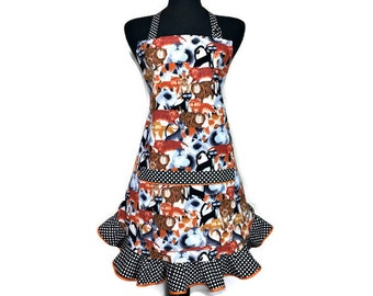Cat Apron for Women with Retro Style Polka Dot Ruffle , Adjustable with Pocket , Pet Lover Kitchen Decor , Aprons for women / Frilly apron