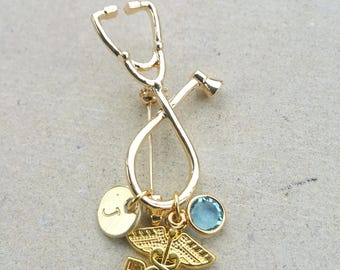 RN Registered Nurse Medical Stethoscope Handstamped Personalized Initial Letter Graduation Gift Gold Tone Brooch Pin