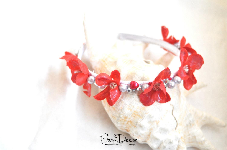 Red flower crown red flower headband silver flower crown zoom izmirmasajfo Images