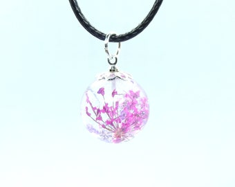 Pink and violet flowers orb earrings and pendant set
