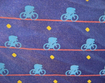 Bicycle Pocket Square, French 100% silk made in France. Dapper sports man blue suit / coat handkerchief accent. Sporty bike lover rider gift