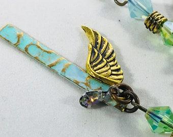 Angel Wing Charm Drop Earring
