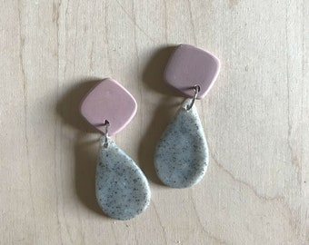 pink and granite polymer clay earrings