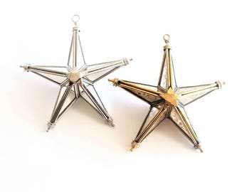 Victorian Christmas Ornaments . faceted ornament .  Christmas star ornament . mirror star . glass star ornaments . mirrored ornaments