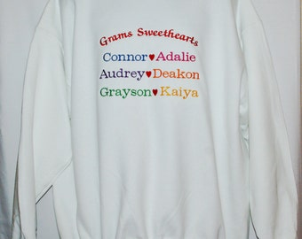 Gram Sweatshirt, Sweethearts,  Custom Grandparent Gift, Personalize With Six Grandkids Names, Gramma, Mimsy, GG, No Shipping Fee, AGFT 923